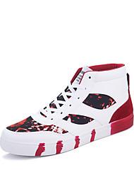 Men's Fashion Sneakers Micorfiber Medium cut Flats Board Shoes Printed Fabric Shoes