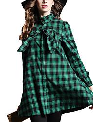 Feminino Casaco Happy-Hour / Casual Simples / Moda de Rua Outono / Inverno,Xadrez Vermelho / Verde / Roxo Poliéster Colarinho Chinês-
