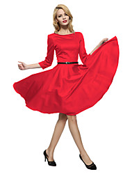 Maggie Tang Women's Bow  3/4 Sleeve 50s VTG Retro Rockabilly Hepburn Pinup Full Circle Swing Cos Party Dress 551