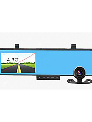 4.3 Inch HD 1080P Recorder Rear View Mirror Driving Recorder Double Lens Reversing Visual