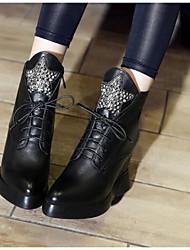 Homme-Extérieure-Noir-Talon Compensé-Talons-Chaussures à Talons-Cuir