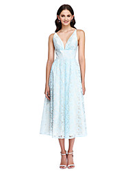 Lanting Bride®Tea-length Lace Bridesmaid Dress - Beautiful Back A-line V-neck with Sash / Ribbon