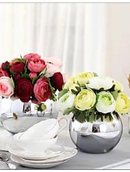 """1 Bunch 1 Филиал Шелк Розы / Камелия Букеты на стол Искусственные Цветы Total Length:9.8"""";Diameter:6.7"""""""
