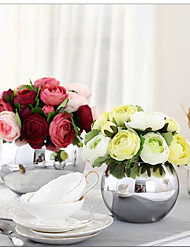 "1 Bunch 1 Ramo Seda Rosas / Camélia Flor de Mesa Flores artificiais Total Length:9.8"";Diameter:6.7"""