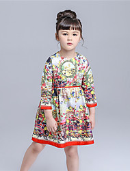KIMOCAT Girl's Casual/Daily Jacquard DressCotton Spring / Fall Yellow-qz809
