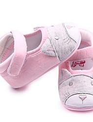 Girls' Baby Flats Cotton Spring Fall Casual Magic Tape Flat Heel Blushing Pink Flat