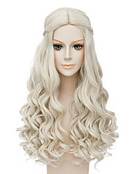Fashion Long Curly Wig Blonde Color Synthetic Cosplay African American Wig
