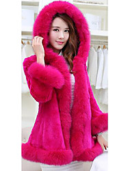 Women's Casual/Daily / Formal Boho Fur CoatSolid Hooded Long Sleeve Winter Pink / Red / White / Black Faux Fur Medium