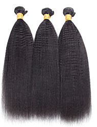 3 Pieces Kinky Straight Human Hair Weaves Brazilian Texture 100grams 8inch to 30inch Human Hair Extensions