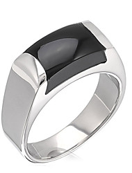 Unisex Fashion 316L Titanium Steel Simple Style Personality Agate Statement Rings Casual/Daily Women Men Accessories