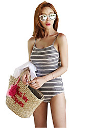 Women's Wavy Stripes Sweet Sexy Halter Straps Siamese Spa Swimsuit