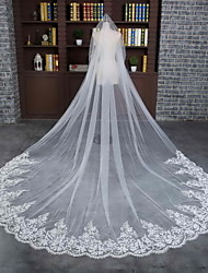Wedding Veil One-tier Cathedral Veils Lace Applique Edge Scalloped Edge Tulle Lace Ivory