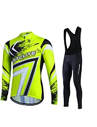 fastcute Cycling Jersey with Bib Tights Women's Men's Unisex Long Sleeve BikeTracksuit Fleece Jackets Jersey Tights Bib Tights