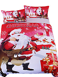 BeddingOutlet Bedding Christmas Elk Gift Comforter Cover Red Printed Soft Sheet Set Twin Full Queen King Bedclothes 3Pcs