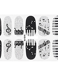 Fashion Piano Note Music Style Glitter Silver and Black Nail Decal Art Sticker Gel Polish Manicure