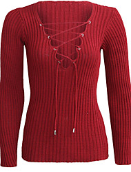 Women's Lace up Formal Casual/Daily Sexy Regular Pullover,Solid Red White Black Green V Neck Long Sleeve Polyester Spring Fall Medium