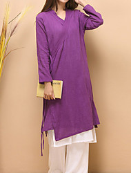 Cynthia Women's Casual/Daily Chinoiserie Tunic DressSolid V Neck Knee-length Long Sleeve Purple Cotton