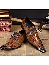 Для мужчин Туфли на шнуровке Удобная обувь Кожа Для вечеринки / ужина Желтый Менее 2,5 см