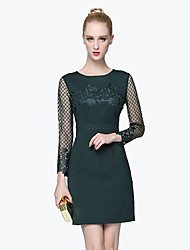 GATHER BEAUTY Women's Going out Simple Sheath DressEmbroidered Round Neck Above Knee Long Sleeve Green Cotton / Polyester Fall High Rise Inelastic