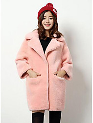Women's Casual/Daily Simple Fur Coat,Solid Long Sleeve Pink / Red / Gray Wool