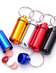 1PCS Portable Aluminum Waterproof Mini Medicine Pill Shaped Box Bottle Holder Container Keychain Ring Box Key Holder