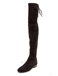 Черный-Женский-Для праздника Повседневный-Замша-На низком каблуке-Другое-Ботинки