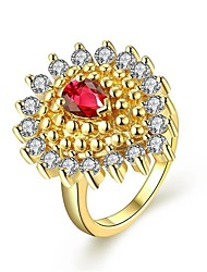 Gold Plated Cheap Price In India Bohemia Style Water Drop Design Inlaid Zirconia Ruby Ring Fashion Jewelry For Women