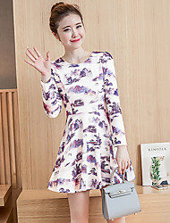Women's Going out Cute Skater Dress,Print Round Neck Above Knee Long Sleeve Orange / Purple Rayon Fall Mid Rise Inelastic Medium