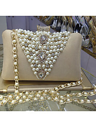 Women Satin Formal / Event/Party / Wedding Evening Bag/Pearl Clutch/Pearl Diamonds Delicate Handbag With Pearl Chain