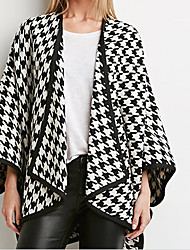 Women's Going out / Casual/Daily Street chic Coat,Houndstooth Cowl ½ Length Sleeve Fall / Winter Black Polyester / Others Medium