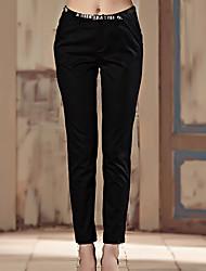 Mulheres Calças Simples Chinos Algodão / Poliéster / Elastano Sem Elasticidade Mulheres