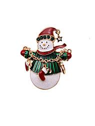broches mujeres de la Navidad del muñeco de nieve blancos