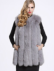 BF-Fur Style  Women's Casual/Daily Sophisticated Fur CoatSolid Round Neck Sleeveless Red / White / Gray Fox Fur