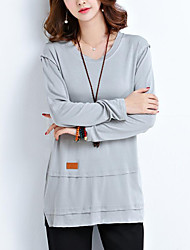 Damen Solide Einfach Übergröße T-shirt,Rundhalsausschnitt Herbst Langarm Beige / Grau Baumwolle / Polyester Mittel