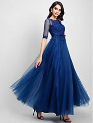 Uma linha de colher de garganta comprimento do chão rendas tulle prom formal vestido de noite com renda