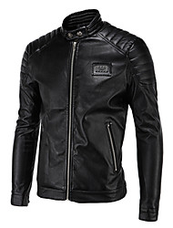 Men's Casual/Daily Simple Leather JacketsSolid Stand Long Sleeve Spring / Winter Black PU Thick