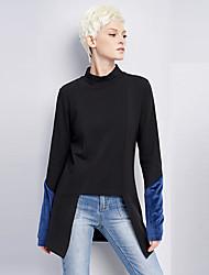 Damen Einfarbig Retro Ausgehen / Lässig/Alltäglich T-shirt,Rollkragen Frühling / Herbst Langarm Schwarz Kunstseide / Nylon / Elasthan