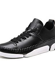 Homme-Bureau & Travail / Décontracté-Noir / Blanc-Talon Plat-Bottes à la Mode-Sneakers-Cuir
