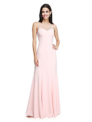 LAN TING BRIDE Floor-length Jewel Bridesmaid Dress - Elegant Sleeveless Chiffon