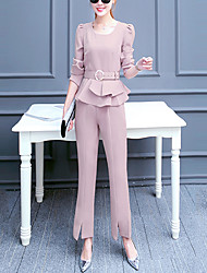 Women's Casual/Daily Active Fall Set Pant Suits,Solid U Neck Long Sleeve Pink / Black Polyester Medium