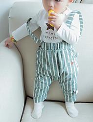малыш Набор одежды-На каждый день,Полоски,Хлопок,Весна / Осень-Зеленый / Серый