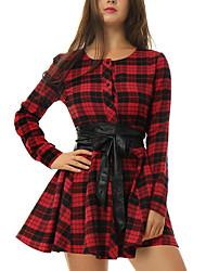 Patineuse Robe Femme Sortie / Décontracté / Quotidien simple,Damier Col Arrondi Mini Manches Longues Rouge / Noir Coton / PolyesterToutes