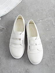 Women's Flats Fall Comfort PU Casual Flat Heel Magic Tape White Other