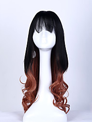 1b/brown Color Long Curly Wigs Capless Synthetic Wigs For Afro Women