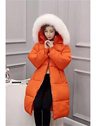Manteau Rembourré Femme simple Sortie Couleur Pleine-Coton Polypropylène Manches Longues Rose / Noir / Gris / Vert / Orange Capuche
