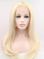 Sylvia Synthetic Lace front Wig Bleach Blonde Heat Resistant Long Natuarl Wave Synthetic Wigs