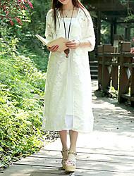 Feminino Camisa Casual Simples Verão,Sólido Branco Tipos Especiais de Couro Decote V Manga Longa Fina