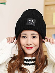 Women Men Vintage Casual Solid Color Smile Pattern Printed Patch Knitted Hat