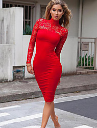 Women's Formal / Party/Cocktail Sexy Bodycon Dress,Solid V Neck Mini Long Sleeve Red / Black Cotton / Spandex Spring / Fall Mid Rise