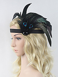 Women's Peacock Feather Onyx Headpiece-Special Occasion Party Flowers 1 Piece Black